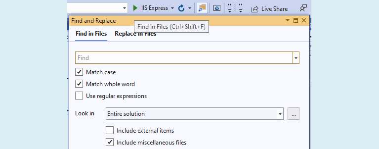 Visual Studio Find in Files screen